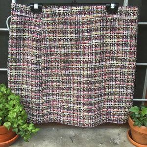 J. Crew Factory tweed multicolor metallic skirt